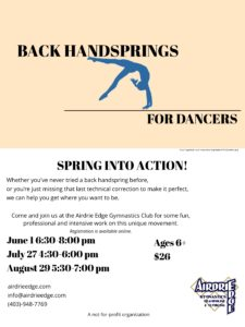 Back Handsprings for Dancers @ Edge | Airdrie | Alberta | Canada